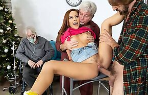 Slim redhead girl gets screwed unconnected with four horny grandpas